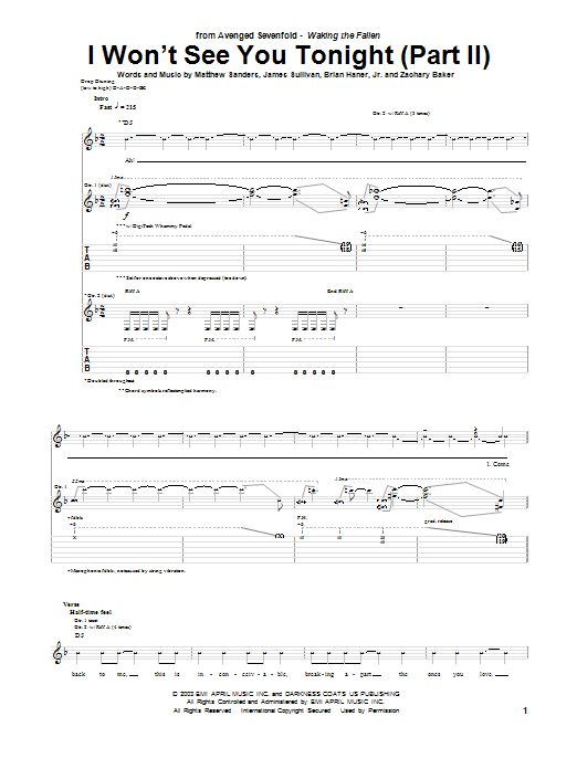 Tablature guitare I Won't See You Tonight (Part II) de Avenged Sevenfold - Tablature Guitare