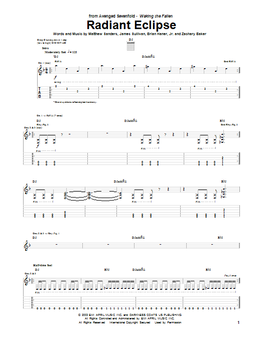 Tablature guitare Radiant Eclipse de Avenged Sevenfold - Tablature Guitare