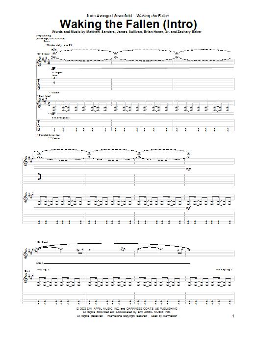 Tablature guitare Waking The Fallen (Intro) de Avenged Sevenfold - Tablature Guitare