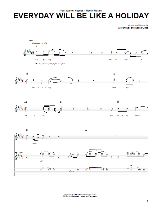 Tablature guitare Everyday Will Be Like A Holiday de Warren Haynes - Tablature Guitare