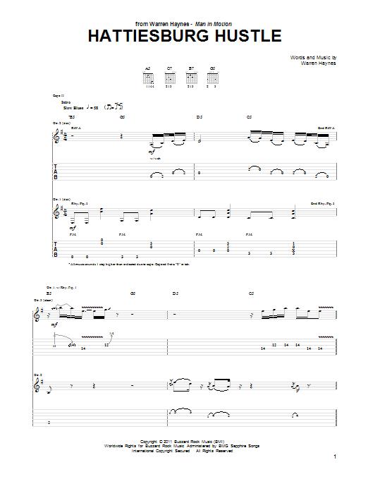 Tablature guitare Hattiesburg Hustle de Warren Haynes - Tablature Guitare