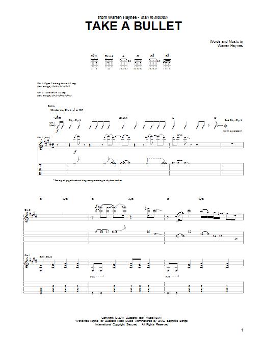 Tablature guitare Take A Bullet de Warren Haynes - Tablature Guitare