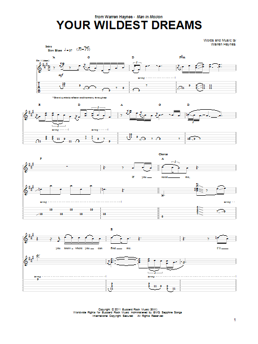 Tablature guitare Your Wildest Dream de Warren Haynes - Tablature Guitare