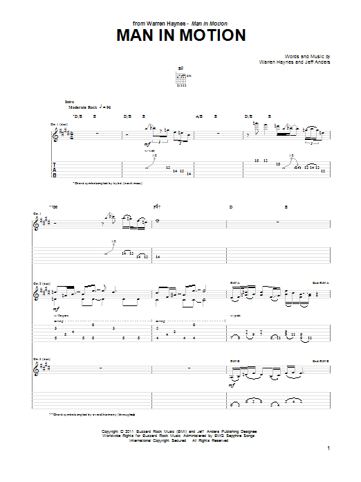 Man In Motion sheet music for guitar solo (tablature) by Jeff Anders