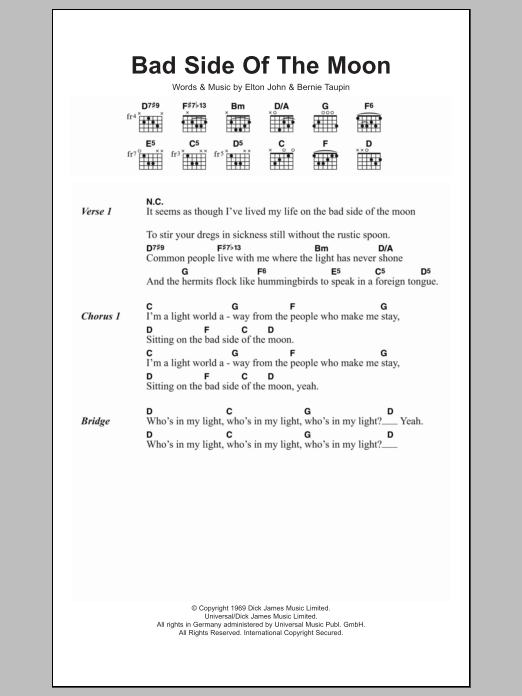 Bad Side Of The Moon sheet music for guitar solo (chords, lyrics, melody) by Bernie Taupin