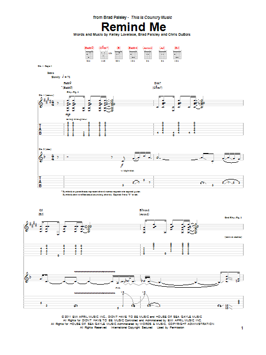 Tablature guitare Remind Me de Brad Paisley & Carrie Underwood - Tablature Guitare