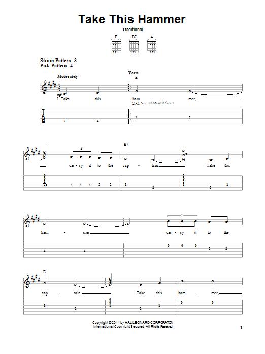 Tablature guitare Take This Hammer de Traditional - Tablature guitare facile