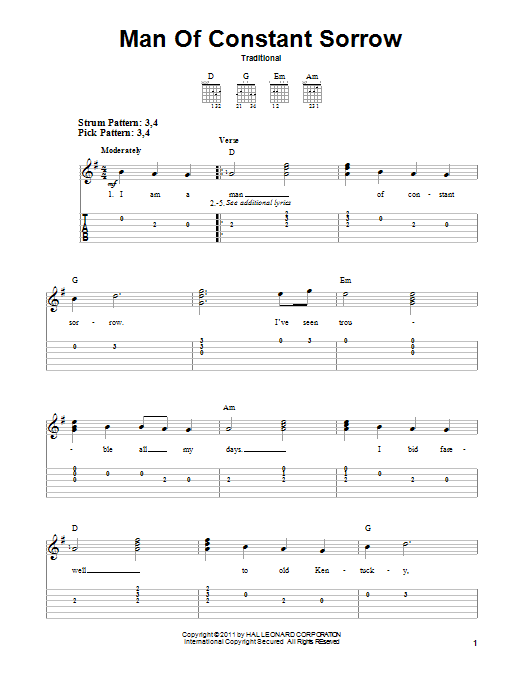 Tablature guitare Man Of Constant Sorrow de Traditional - Tablature guitare facile