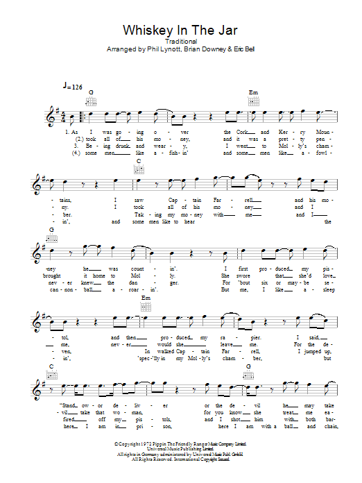 Whiskey In The Jar : Sheet Music Direct