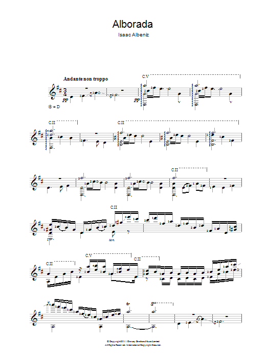 Alborada sheet music for guitar solo (chords) by Isaac Albeniz