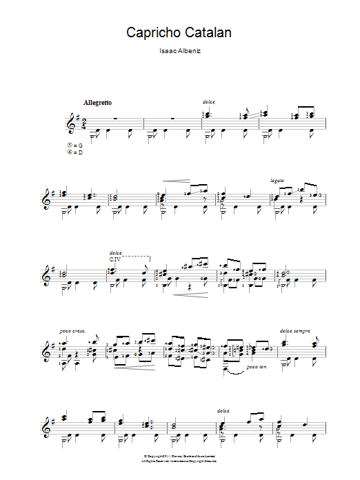 Capricho Catalan sheet music for guitar solo (chords) by Isaac Albeniz