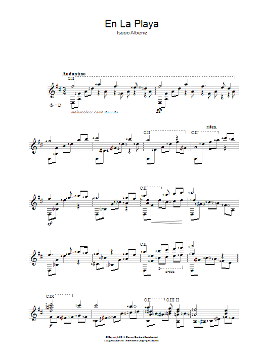 En La Playa sheet music for guitar solo (chords) by Isaac Albeniz