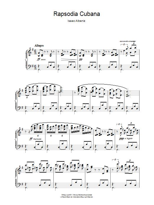 Rapsodia Cubana sheet music for piano solo by Isaac Albeniz