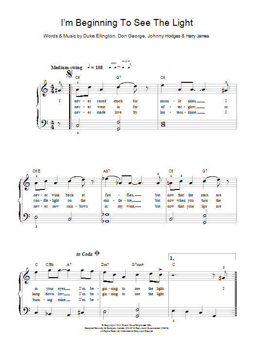 I'm Beginning To See The Light sheet music for piano solo (chords) by Johnny Hodges