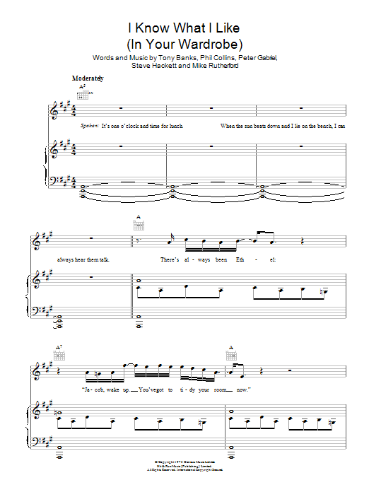 I Know What I Like (In Your Wardrobe) sheet music for voice, piano or guitar by Tony Banks