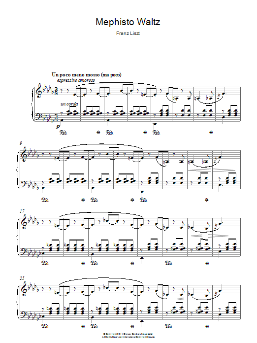 Mephisto Waltz sheet music for piano solo by Franz Liszt