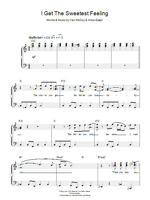 I Get The Sweetest Feeling sheet music for voice and piano by Van McCoy