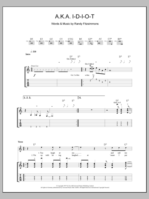 A.K.A. I-D-I-O-T sheet music for guitar solo (tablature) by Randy Fitzsimmons