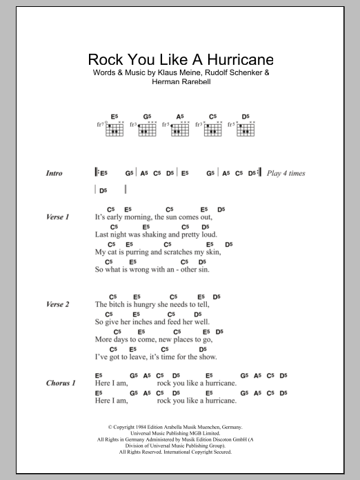 Rock You Like A Hurricane sheet music for guitar solo (chords, lyrics, melody) by Rudolf Schenker