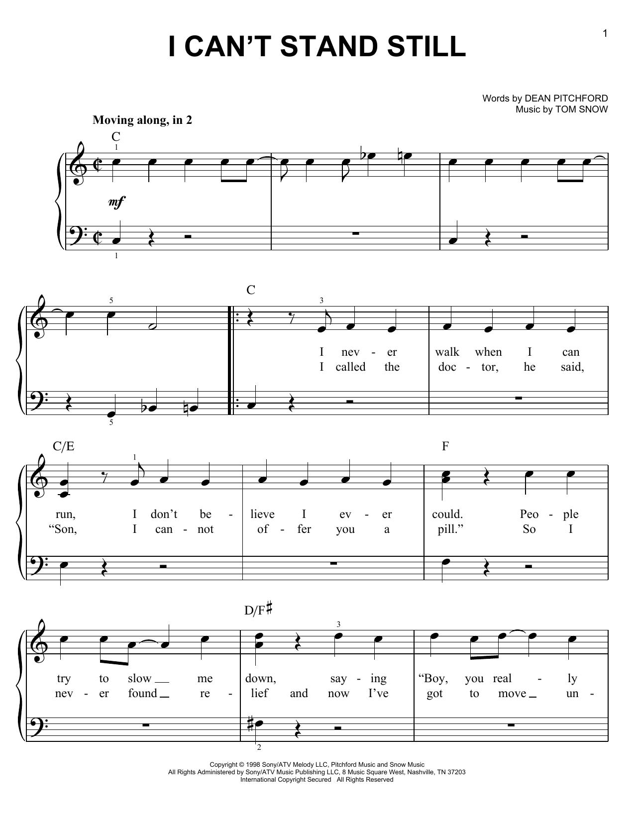 Partition piano I Can't Stand Still de Dean Pitchford - Piano Facile