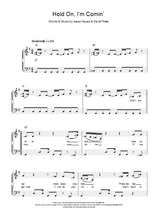 Hold On, I'm Comin' sheet music for voice and piano by Isaac Hayes