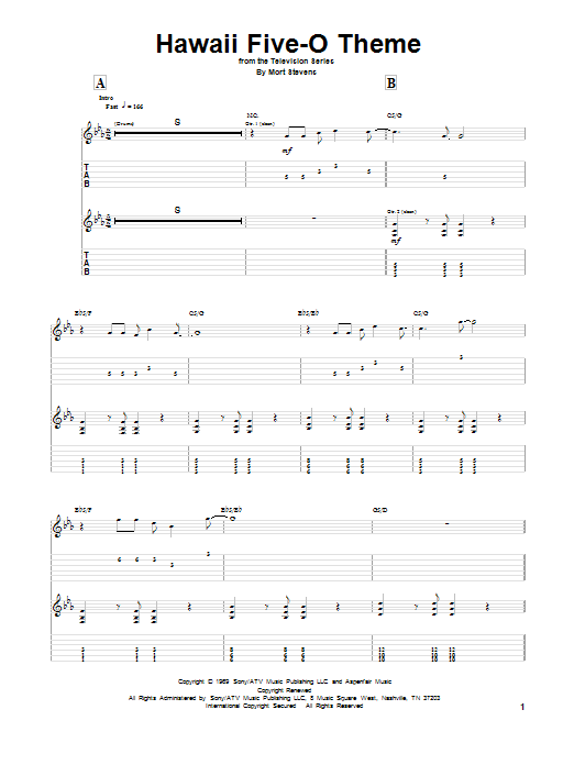 Tablature guitare Hawaii Five-O Theme de The Ventures - Tablature Guitare