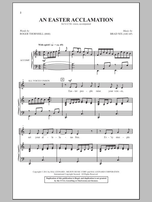 An Easter Acclamation sheet music for choir and piano (SATB) by Brad Nix