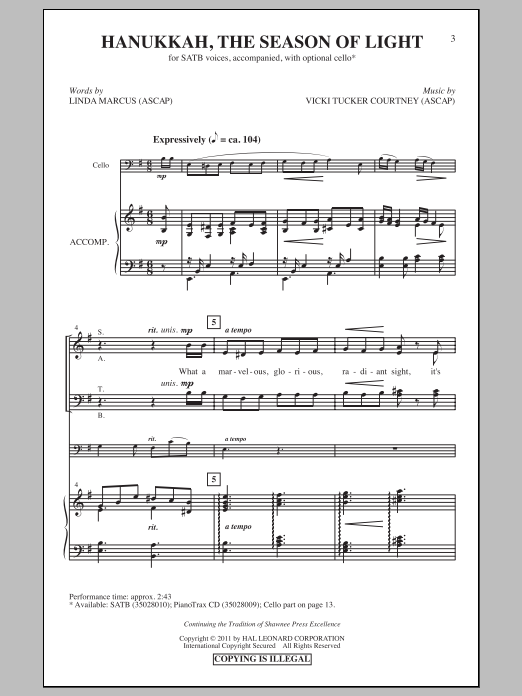 Partition chorale Hanukkah, The Season Of Light de Vicki Tucker Courtney - SATB