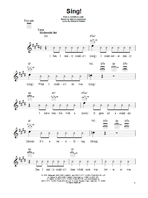Tablature guitare Sing! de Marvin Hamlisch - Ukulele