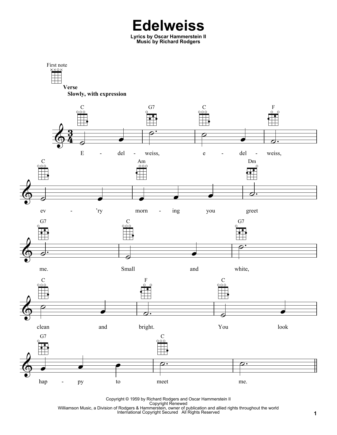 Edelweiss sheet music for ukulele by Richard Rodgers