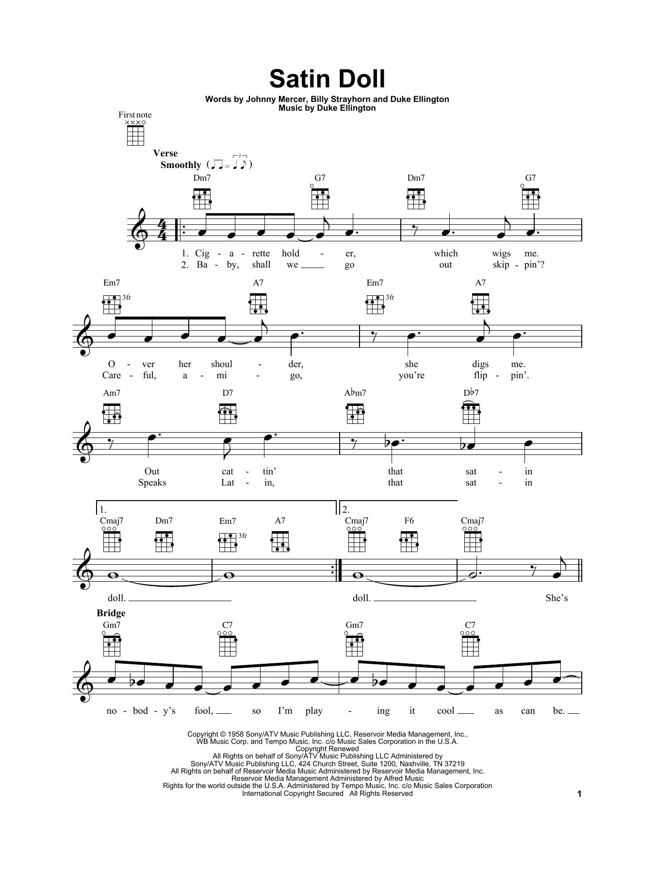 Tablature guitare Satin Doll de Duke Ellington - Ukulele