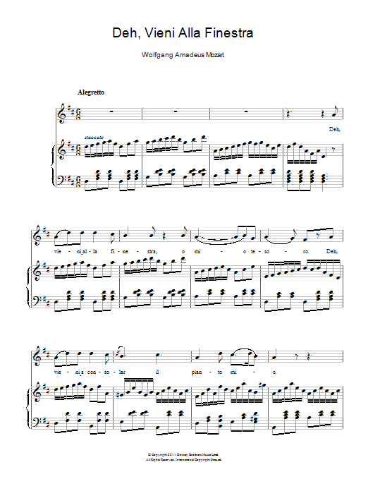 Deh, Vieni Alla Finestra (Serenade) sheet music for voice and piano by Wolfgang Amadeus Mozart