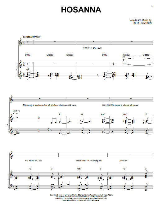 Hosanna sheet music for voice, piano or guitar by Kirk Franklin