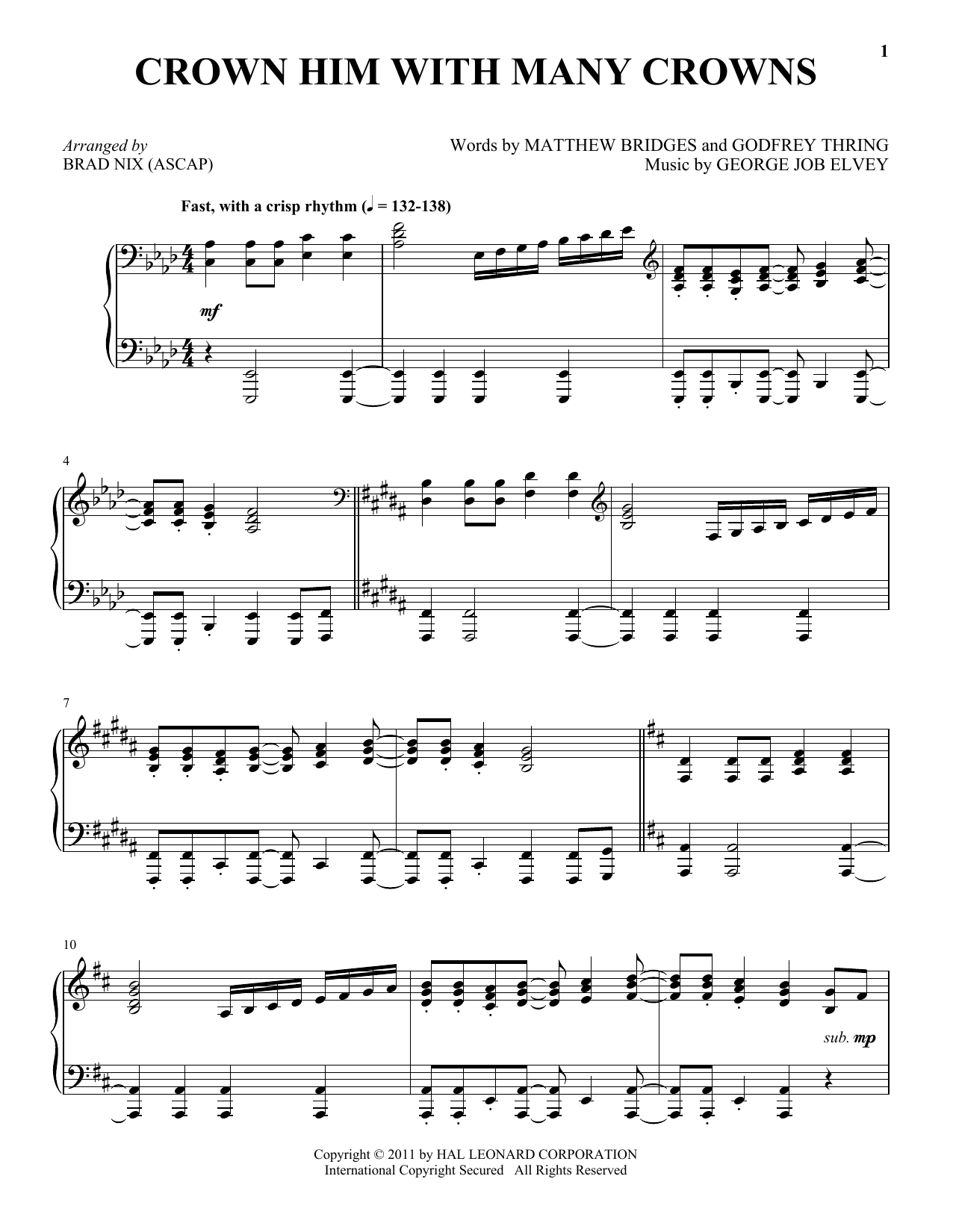 Crown Him With Many Crowns sheet music for piano solo by Godfrey Thring