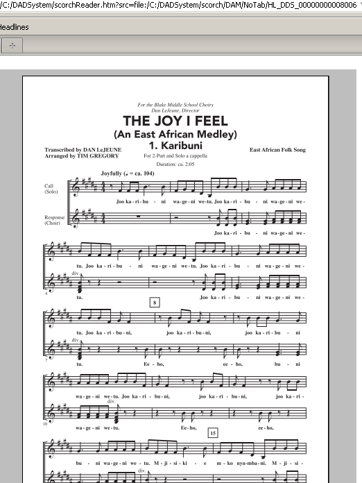The Joy I Feel (East African Medley) sheet music for choir and piano (duets) by Tim Gregory