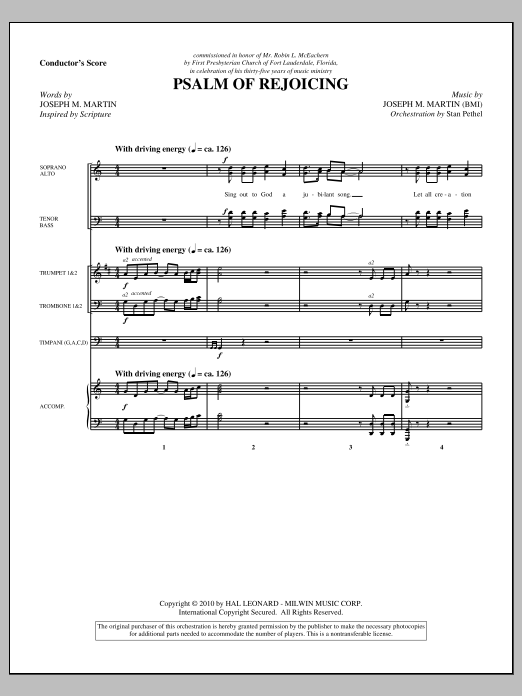 Psalm Of Rejoicing (complete set of parts) sheet music for orchestra/band (Orchestra) by Joseph M. Martin