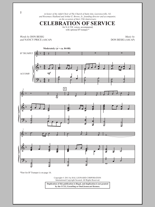 Partition chorale Celebration Of Service de Don Besig - SATB