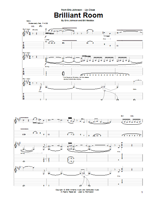 Tablature guitare Brilliant Room de Eric Johnson - Tablature Guitare