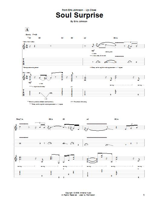 Tablature guitare Soul Surprise de Eric Johnson - Tablature Guitare