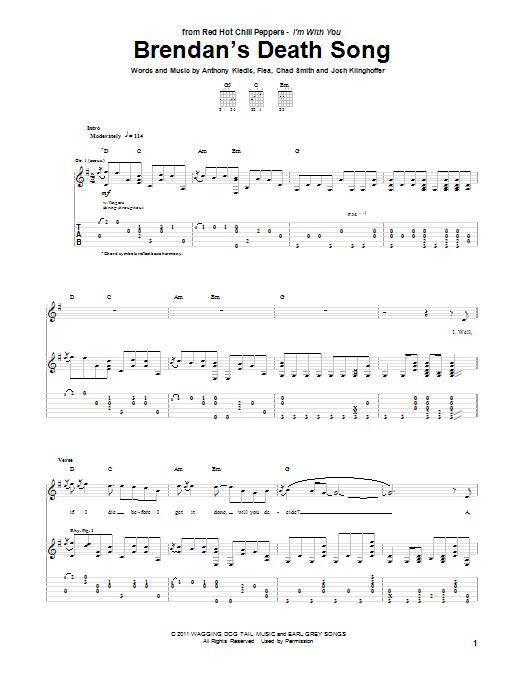 Brendan's Death Song sheet music for guitar solo (tablature) by Josh Klinghoffer