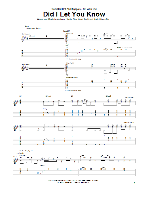 Tablature guitare Did I Let You Know de Red Hot Chili Peppers - Tablature Guitare