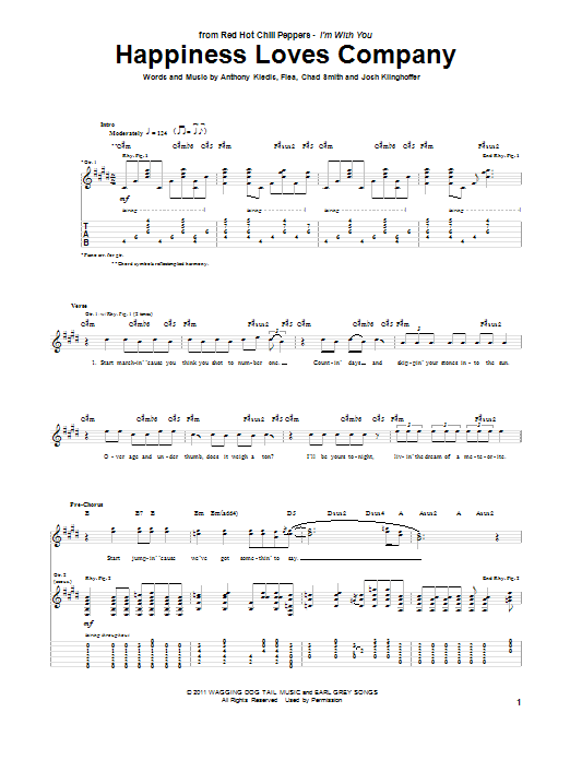 Tablature guitare Happiness Loves Company de Red Hot Chili Peppers - Tablature Guitare