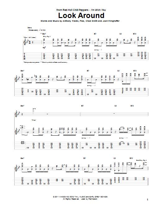Tablature guitare Look Around de Red Hot Chili Peppers - Tablature Guitare