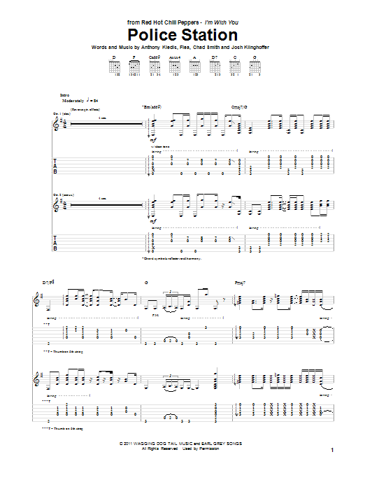 Tablature guitare Police Station de Red Hot Chili Peppers - Tablature Guitare