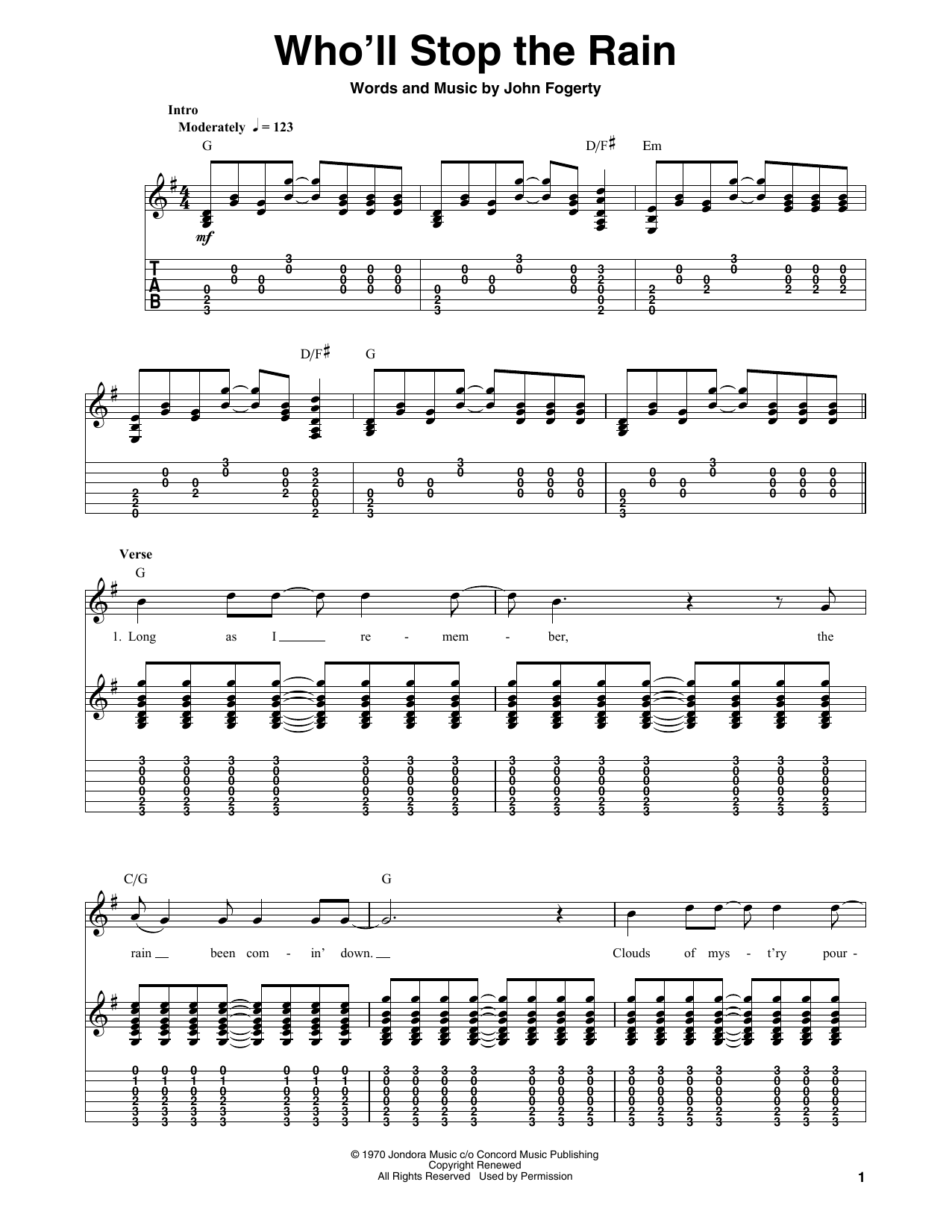 Tablature guitare Who'll Stop The Rain de Creedence Clearwater Revival - Tablature Guitare