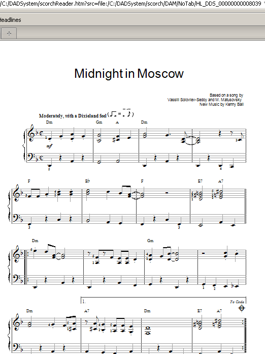 Partition piano Midnight In Moscow de Kenny Ball - Piano Facile