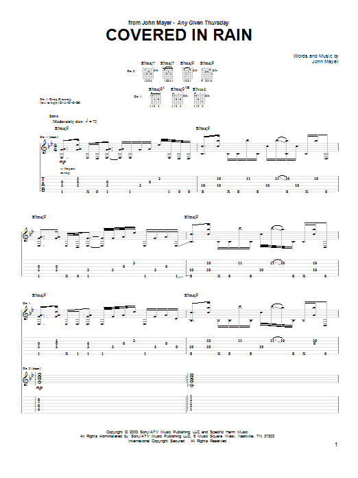Tablature guitare Covered In Rain de John Mayer - Tablature Guitare