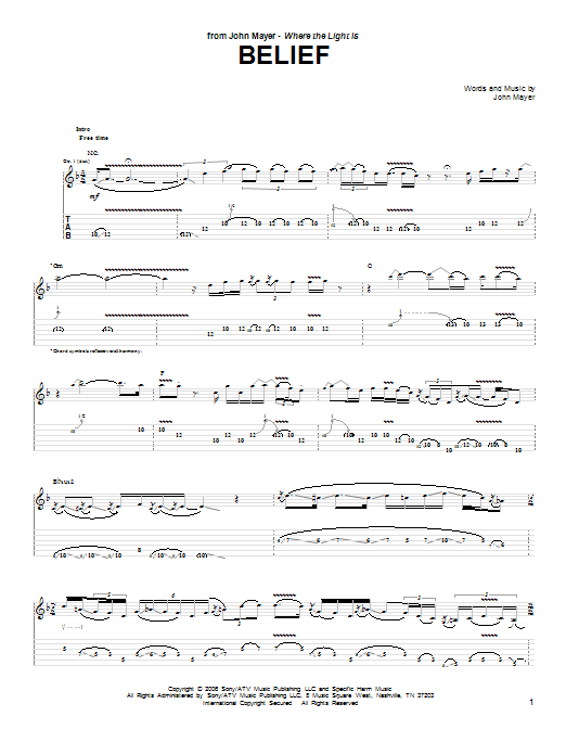 Tablature guitare Belief de John Mayer - Tablature Guitare