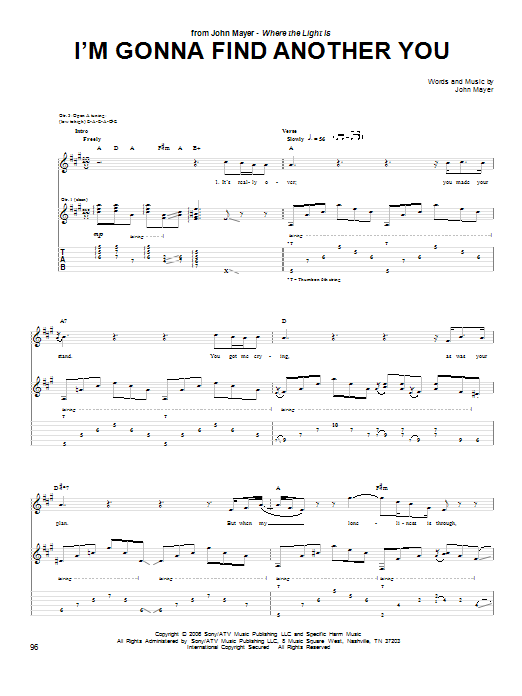 Tablature guitare I'm Gonna Find Another You de John Mayer - Tablature Guitare