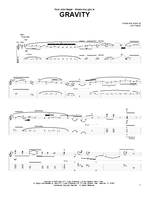 Gravity by John Mayer - Guitar Tab - Guitar Instructor